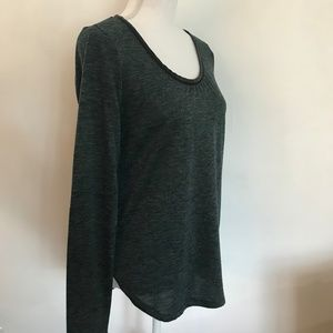 EUC Ann Taylor Elbow Patch Scoop Neck Top